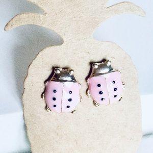 🎁Rose Gold Tone Pink Ladybug Earrings